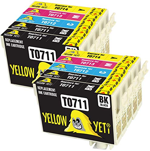 Yellow Yeti Reemplazo para Epson T0711 T0712 T0713 T0714 T0715 10 Cartuchos de tinta compatibles con Epson Stylus S20 S21 SX100 SX115 SX200 SX218 SX415 SX515W SX600FW SX610FW BX300F BX610FW D92 DX7400
