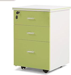 Classeur mobile avec serrure et 3 tiroirs, meuble de rangement vertical roulant avec 4 roulettes, table de chevet chambre ...