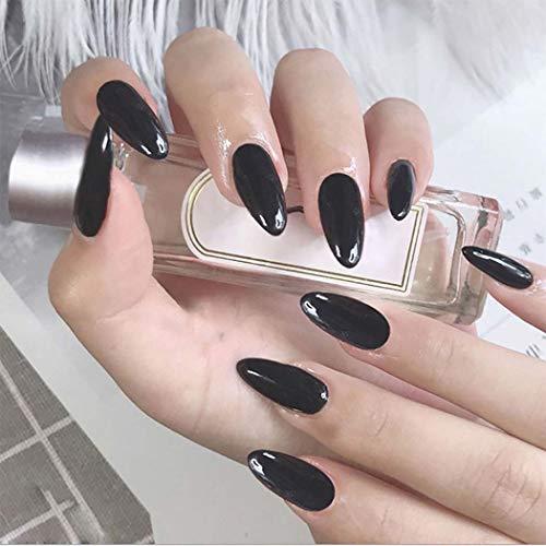 Easedaily Almond Fake Nails Black Press on Nails Long False Nails Ballerina Glossy Full Cover Nails for Women