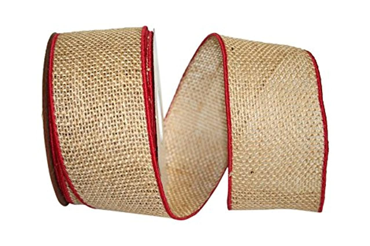 Reliant Ribbon 3223M-756-40F Burlap Bling Wired Edge Ribbon, 2-1/2 Inch X 10 Yards, Natural/red