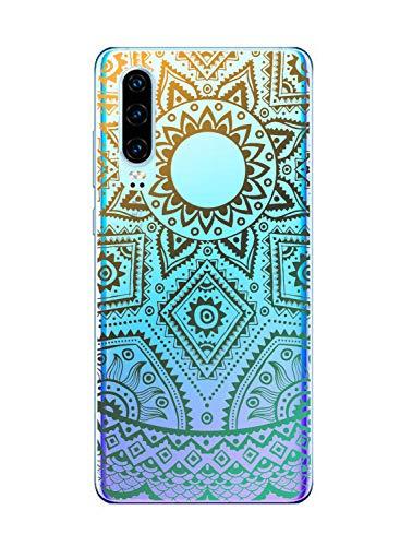 Suhctup Moda Coque Compatible pour Motorola One Vision,Transparent Silicone TPU Souple Étui avec [Motif Fleur] Crystal Ultra Fine Shock-Absorption Antichoc Protection Housse Cover Case(Lacet 1)