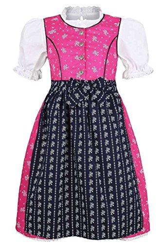 COALA Mädchen Mädchen Dirndl geblümt pink blau mit Bluse, Pink/Blau, 110/116