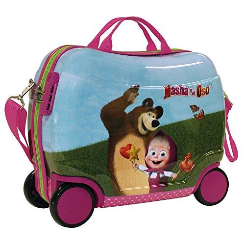 Masha e Orso in The Wood 2651051 Trolley Cavalcabile, 25 litri, ABS, Rosa