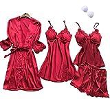 SAPJON Women's 4pcs Silk Satin Pajama Set Sexy Cami Top Nightgown Lace Sleepwear Robe Sets...