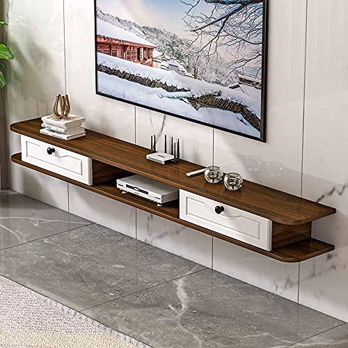 Mueble de TV Flotante, Mueble TV de Pared de madera maciza mate montada con cajones, para sala de estar oficina hogar sala de entretenimiento/D / 100cm