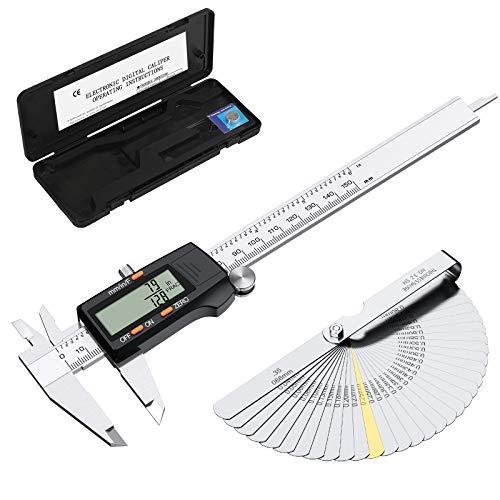 ESYNIC Digitaler Messschieber mit 32 Fühlerlehren, 150 mm, Edelstahl-Körper, elektronischer Messschieber, Bruchfraktionen/Zoll/metrisches Umwandlungswerkzeug für Länge, Breite, Tiefe, Innendurchmesser
