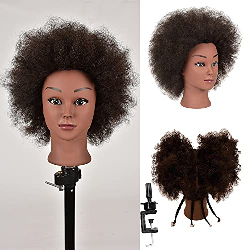 Mannequin Head 100% Real Human Hair TrainingHead Kinky Curly Hair Hairdresser Manikin Training Head Cosmetology Doll Head for Hairdresser Practice Head Styling Braiding with Clamp Stand (9 inch)