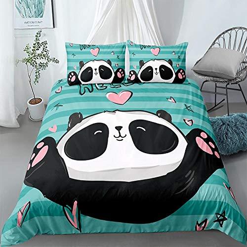 VTBDWOSE Juego De Funda Nórdica De Microfibra, 220X240 Cm Panda Animal De Dibujos Animados Ropa De Cama con Cierre De Cremallera, Antialérgico Cómodo Suave Fácil De Limpiar - Juego De Funda Nórdica