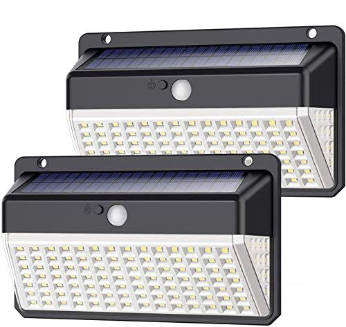Luz Solar Exterior 118 LED, Yacikos [Nueva Versión de Ahorro de energía Verde -1000LM] Foco Solar Exterior con Sensor de Movimiento, Luces Solares Jardín 2200mAh Lámpara Solar Impermeable -2 Piezas
