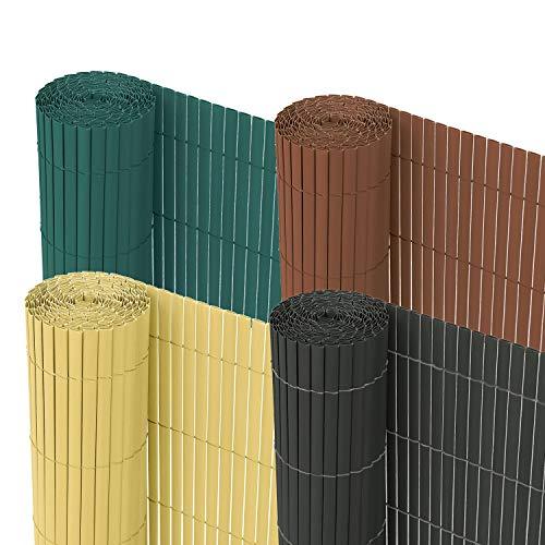 Froadp 90x800cm PVC Sichtschutzmatte Windschutz Imitat Bambus Sichtschutzzaun Verkleidung für Außenbereich Garten Balkon Terrasse(Anthrazit)