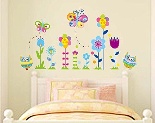 ufengke Gufi Cartone Animato Farfalle e Fiori Adesivi Murali, Camera dei Bambini Vivai Adesivi da Parete Removibili/Stickers Murali/Decorazione Murale