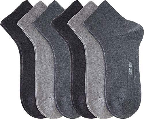 Camano Unisex-Quarter-Socken 6er-Pack grau Größe 39-42