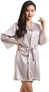 389f69d1d1def Mini Balabala Peignoir Satin Robe de Chambre Kimono Femme Sortie de Bain  Nuisette Déshabillé Vêtements de