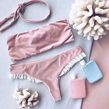 Zooarts® Rosa Verano Las Mujeres Terciopelo Acolchada Bikini Set Traje de baño bañadores Bañador, Terciopelo, Rosa, Small