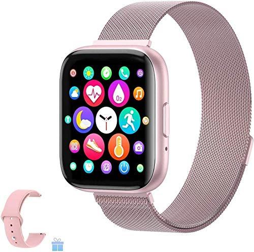 Reloj inteligente con monitor de ritmo cardíaco, pantalla grande a color, IP67, impermeable, monitor de sueño, podómetro, compatible con iOS Android para hombres y mujeres, color rosa