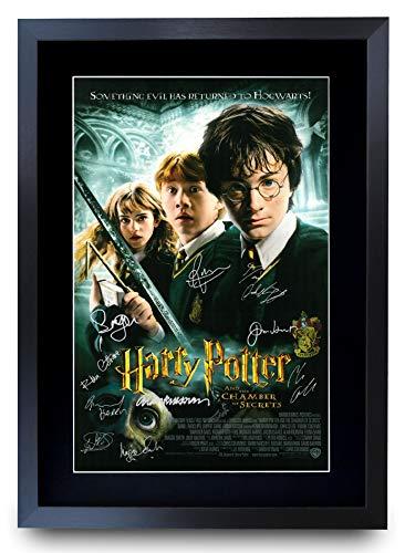 HWC Trading Chamber of Secrets Harry Potter The Cast Daniel Radcliffe Emma Watson Rupert Grint Gifts Gedrucktes Poster, signiertes Autogramm, Bild für Film-Fans, A3 gerahmt