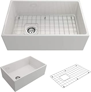 BOCCHI 1346-001-0120 Contempo Apron Front Fireclay 30 in. Single Bowl Kitchen Sink with Protective Bottom Grid and Strainer in White