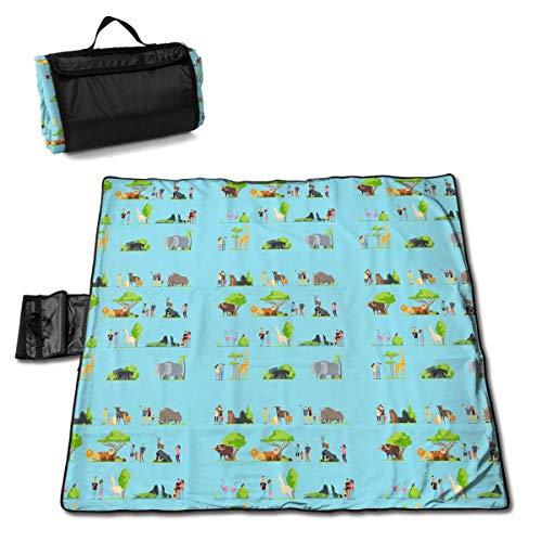 GuyIvan Happy Families Niños con Padres y Wild Zoo Imagen Vectorial Picnic Mat Handy Beach Mat Picnic Blanket 145X150cm