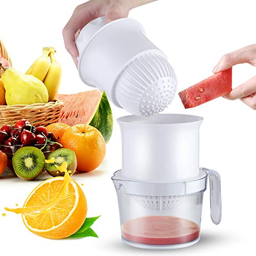Sunhanny Citrus Lemon Orange Juicer Manual Hand Squeezer Multifunctional Press Reamer for Watermelon Grape and Various Soft Fruits with Strainer,Measuring Cup, and Grapefruit Spoons