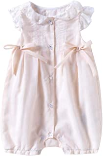 ACVIP Baby Girl's Flutter Sleeves Front Buttoned Rompers Outfit (Beige,3-6 Months)