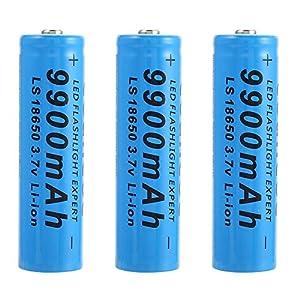 Bateria 18650 Recargable Pilas 3.7V 9900mAh 18650 Recargables Batería Li-Ion De Potencia Pilas Recargables para Linterna LED Herramientas Electrónicas, Azul (2 Piezas)