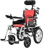 Silla de Ruedas eléctrica, Discapacitados en silla de ruedas eléctrica for trabajo pesado, plegable y ligero silla de ruedas eléctrica, 360 ° Joystick, 44cm Anchura del asiento plegable ,Andador