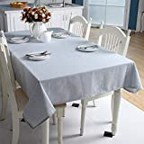 HUANGSAN Korean Solid Color Cotton Linen Tablecloth Light Blue dustproof Tablecloth Wedding Banquet Rectangular Cover Cloth,Light Blue,140cm X 140cm