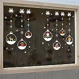Samber Autocollant Stickers Noël Fenêtre Vitrine Mural Décoration Noël Réutilisable Arbre de Noël Bonhomme de Neige Flocon Renne F