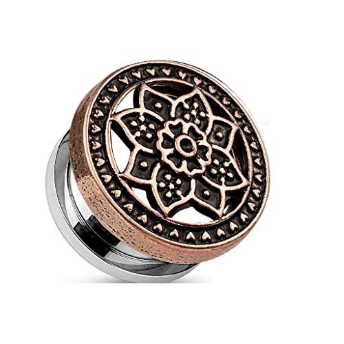 Tapsi´s Coolbodyart®| Flesh Tunnel Schraubverschluss Edelstahl Chirurgenstahl 316L Messing Zirkonia Tribal Lotus Rose Gold 5mm