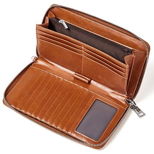 BOSTANTEN Echtes Leder Geldbörsen Damen Geldbeutel RFID Block Wallet viele Kartenfächer Portemonnaie Kleingeldfach mit Reißverschluss Braun