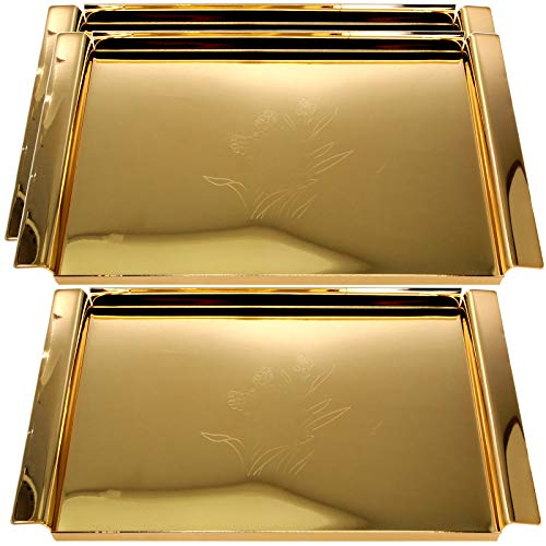 Maro Megastore (Pack of 3) 16.3 Inch x 9.3 Inch Rectangular Iron Gold Plated Metal Serving Tray with Handle Floral Engraved Vintage Classic Design Mirror Plate Platter Holiday Wedding Buffet CC-415