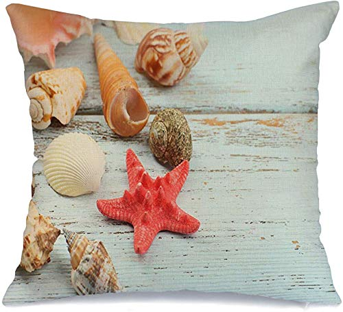 Pillow Cover Decorative Pillowcase Seashells Starfish On Wooden Travel Table Helix Closeup Textures Ornament Dry Close Cockle Objects Linen Comfortable Square Cushion Case for Car Couch 16x16 Inch