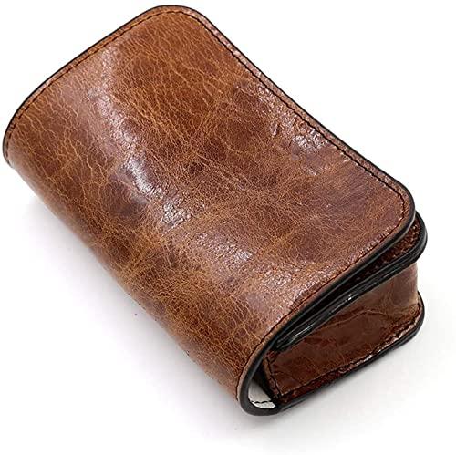 Caja de reloj de cuero genuino marrón HKHJ, estuche de viaje para reloj portátil para reloj individual o reloj inteligente, bolsa de almacenamiento organizador de reloj suave