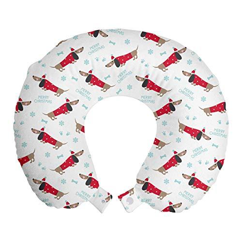 ABAKUHAUS Teckel Reiskussen, Prettige Kerstdagen en Hond, Reisaccessoire met Geheugenschuim voor Vliegtuig en Auto, 30 cm x 30 cm, Warm Taupe Dark Pink