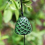 Japanese Lucky Pine Cones Small Wind Chimes Outdoor, Iwachu Cast Iron Temple Wind Bell Memorial and Sympathy Wind Chimes for Outside or Indoor Good Luck for Garden, Patio, Balcony(Green Pine Cones)