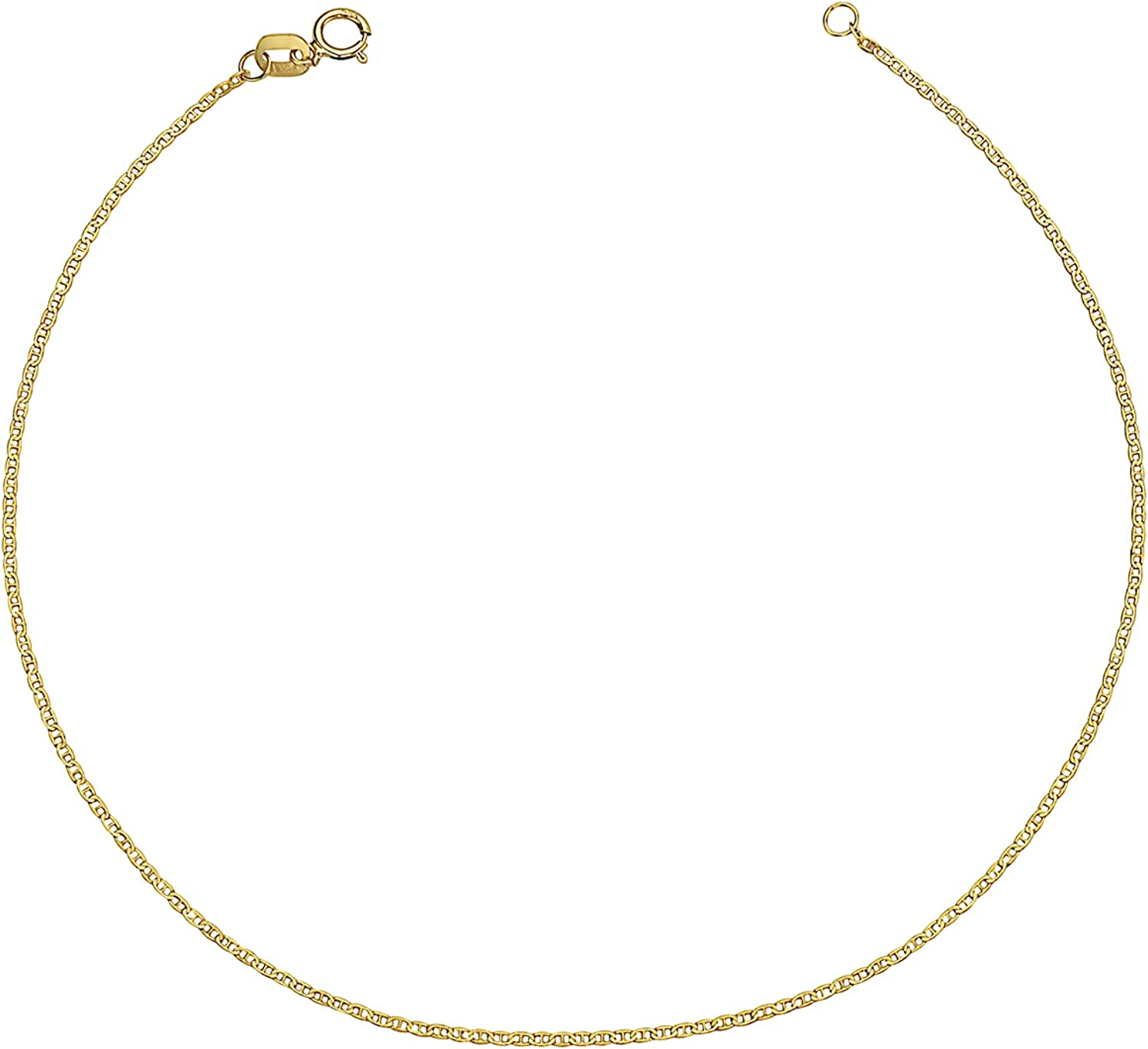 14K Solid Yellow Gold 1MM Flat Mariner Chain Anklet - Sturdy Spring Ring Closure - 9