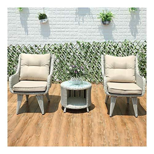 Muebles de vida al aire libre Té color muebles del patio de mesa y sillas de jardín juego de patio interior Conservatorio conversación de café al aire libre mesa de patio al aire libre Dos Estilo HLZY