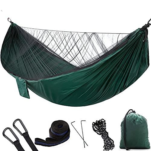 LVLUOKJ Hamaca para Acampar con mosquitera, paracaídas de Nailon, Ultraligera, Doble Hamaca para Viajes al Aire Libre, Acampar, Senderismo, mochilero, 290 x 140 cm (Color : Dark Green)