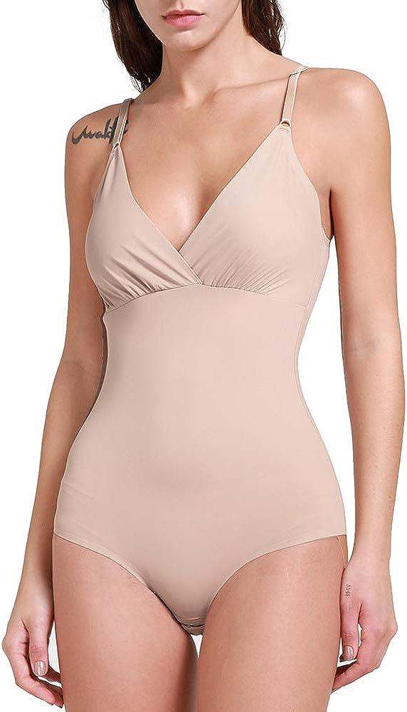 SHAPERIN SHapewear Bodysuit for Women Scoop Neck Tank Tops Tummy Control Seamless Jumpsuits Full Body Shaper