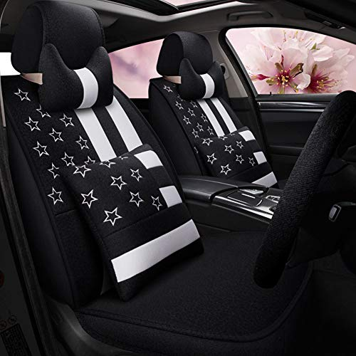 YSDS-JZ Adecuado para Fundas De Asiento De Automóvil De 4 Estaciones. Cuero Impermeable Cómoda Almohada para El Cinturón Y Reposacabezas. Adecuado para La Mayoría De Los Automóviles,Negro