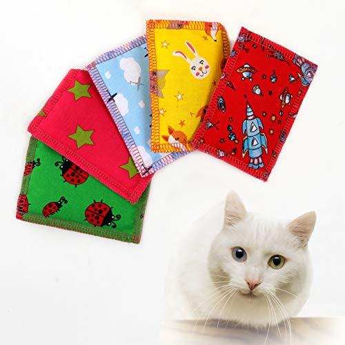 Joli Moulin Premium Katzenminze Katzenspielzeug Schmusekissen Duftkissen Oeko-TEX 100 der Umwelt zuliebe, Konservierungsbeutel, Catnip 5 Stück für glückliche Katzen