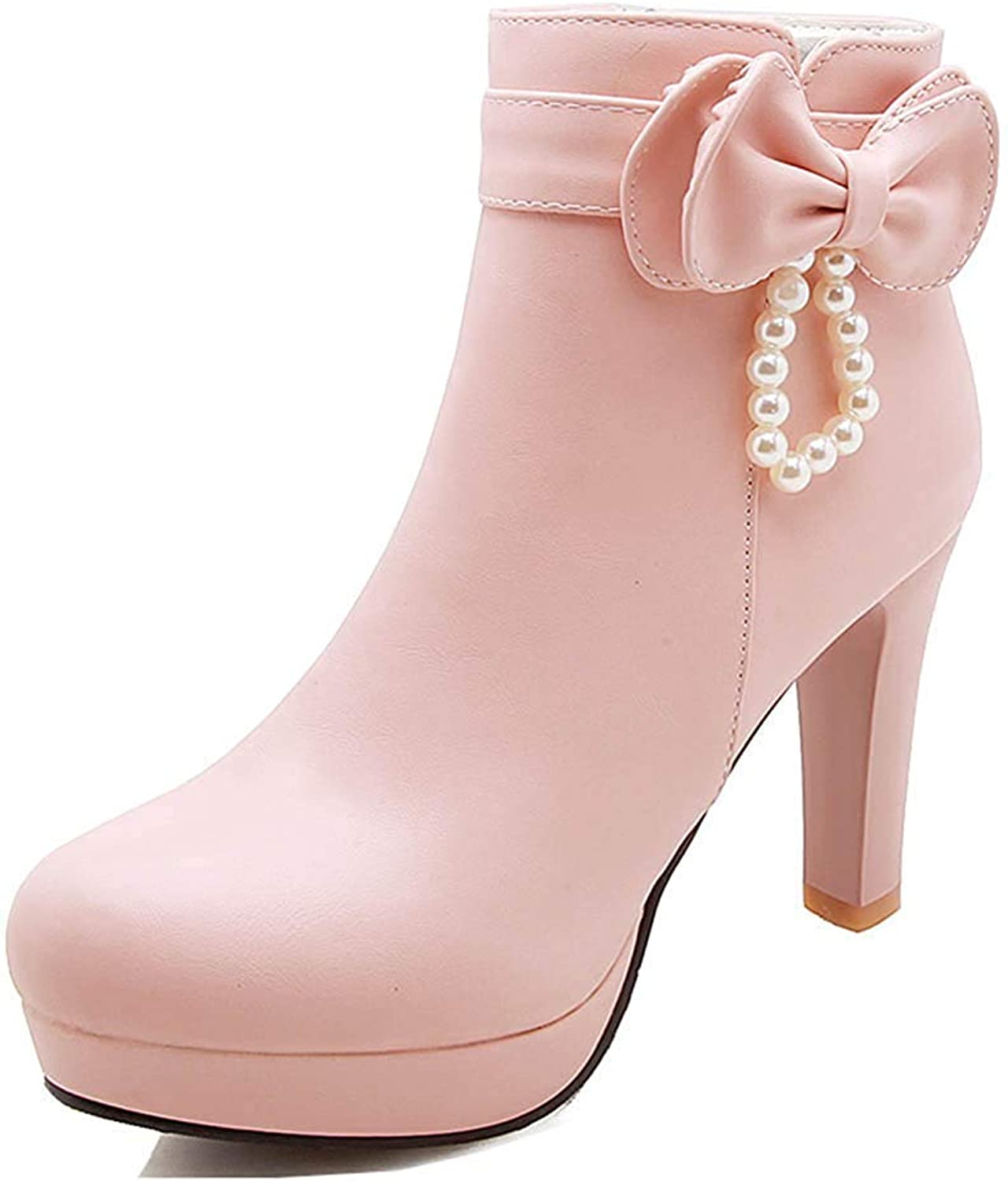 Unm Women's Cute Bead High Heeled Short Boots Round Toe Inside Zip Up Platform Ankle Booties with Bow