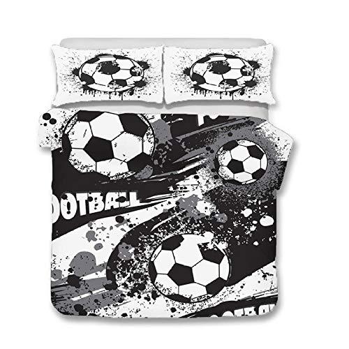 Fadaseo - Juego de funda de edredón de 240 x 220 cm, impresión 3D Doodle Football Sport 3 piezas, diseño de algodón supersuave, con 2 fundas de almohada hipoalergénicas