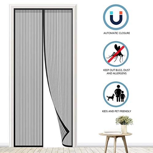 DX Magnetische vliegenhordeur, magnetisch deurscherm direct scherm deur met hoog presterende horgordijn, insecten niet uitvliegen, zwart, 80 x 240 cm (31 x