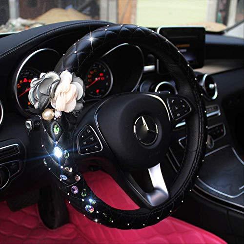 GGOII Lenkradabdeckung Diamant Strass Auto Lenkradbezüge mit handgenähten Blume Lederlenkrad Fällen für Mädchen Autozubehörgrüne Blume