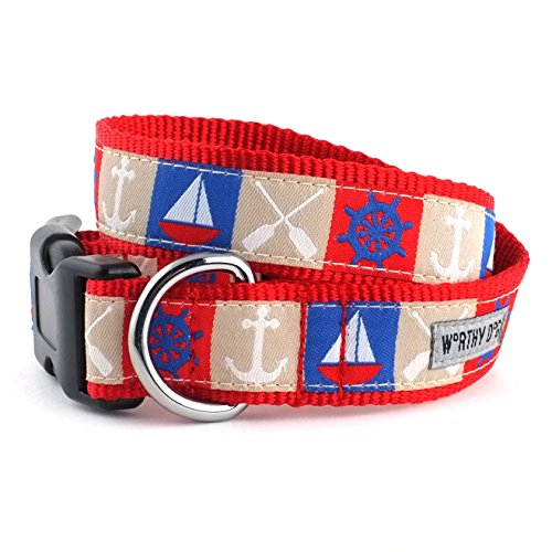 The Worthy Dog Ahoy Collar, Rojo, XS