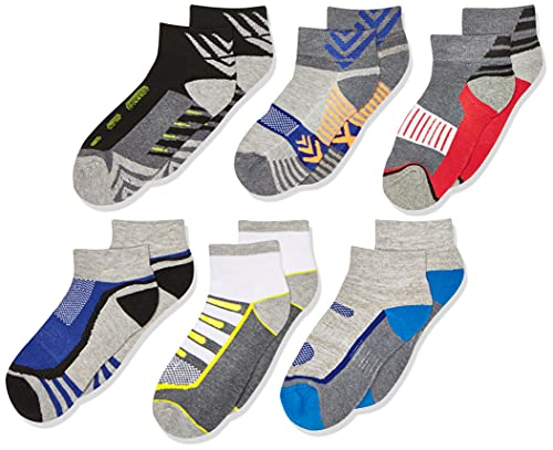 Jefferies Socks Jungen Big Tech Sport Quarter Socken 6 Paar, mehrfarbig, Large