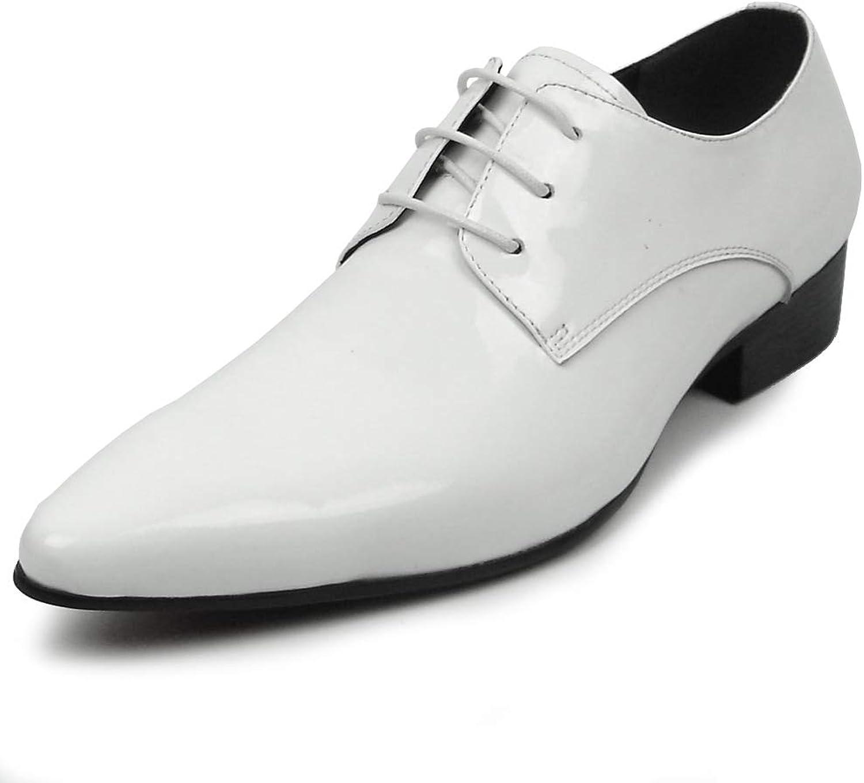 Fieso av Aurelio Garcia FI -7285 vit Patent Lace Lace Lace up Tuxedo skor point Toe - European skor Designs  bästa försäljningen