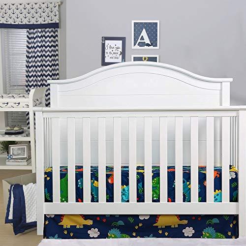 "Dinosaur Crib Skirt UOMNY,100% Natural Cotton, Crib Bed Skirt, Cute Dinosaur Nursery Crib Bedding Skirt for Baby Boys and Girls,Bedding Dust Ruffle Fits Standard Crib and Toddler Bed,13"" Drop"