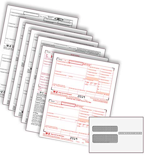 2019 Laser Tax Forms - W-2 Income (6-Part Set) & Envelope Kit for 50 Employees - Park Forms